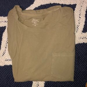 J Crew Garment Dyed Olive Green Long Sleeve